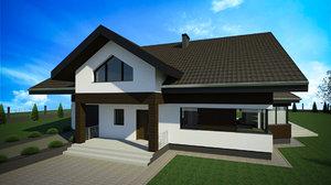 two-storey detached house building exterior 3D