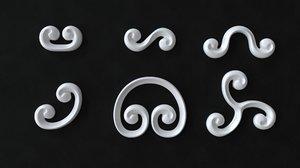 3D decorative swirls scrolls model