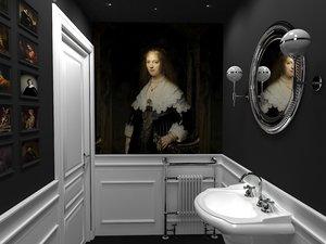 3D interior classic toilet