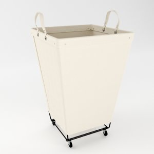 square canvas laundry cart 3D model