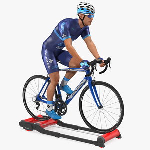 3D model athlete cyclist riding roller