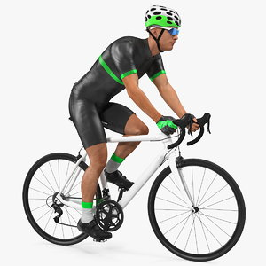 cyclist riding bike rigged 3D model