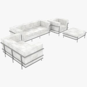 le corbusier sofas chair 3D model