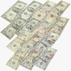 usa dollars banknotes new 3D