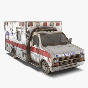ambulance dirty pbr 3D model