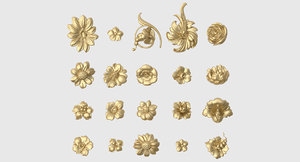 3D decorative flowers model
