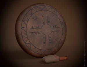 3D tambourine pbr