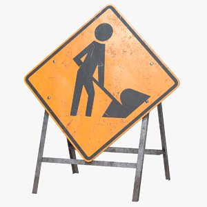 3D model roadwork sign pbr