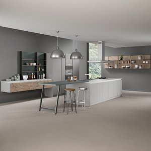 3D model realistic kitchen 5 lighting