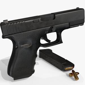 3D model glock 19 pistol bullet