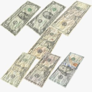 3D model usa dollars banknotes bill