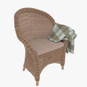 3D classic wicker chair