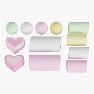 3D model marshmallows dragees