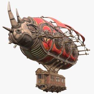 airship steampunk rhinoceros 3D