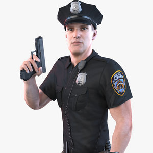 3D model police officer ultra 2020