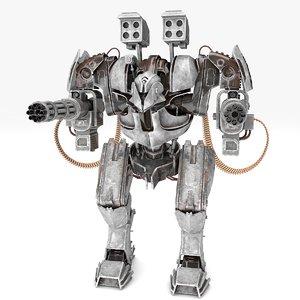 3D minigun robot rigged animate