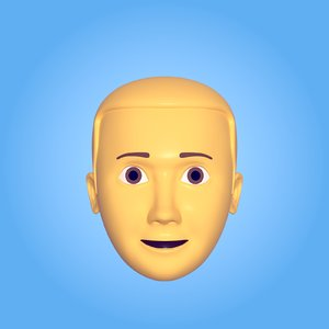 3D man head icon model
