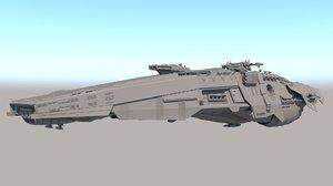 sci fi space battleship 3D model