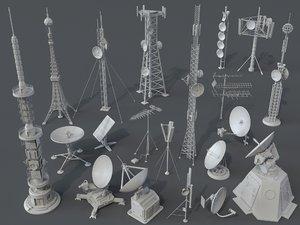 3D model 20 pieces antenna