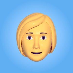 3D model woman head icon