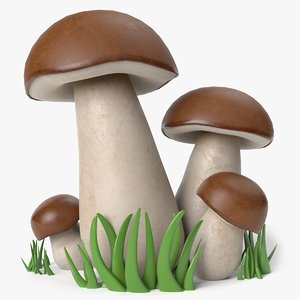 3D cartoon porcini mushrooms