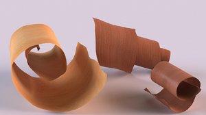 3D sandalwood shavings wood cosmetics model