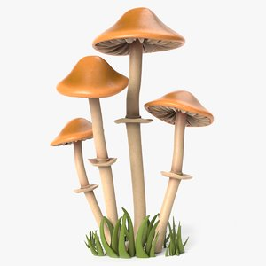 cartoon tall mushrooms model