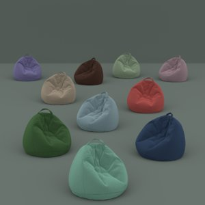 soft beanbags colored flock model