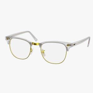 3D eyeglasses classic style transparent model