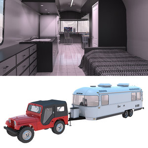 airstream trailer jeep 3D model