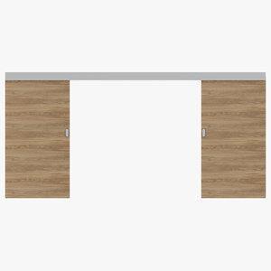 3D door sliding wood