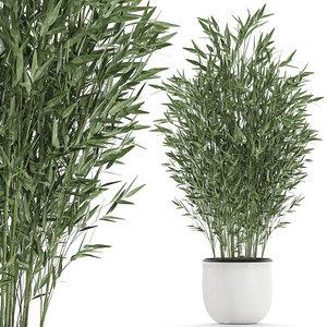 3D bamboo white flowerpot bush