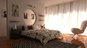 bedroom interior scene 3D model
