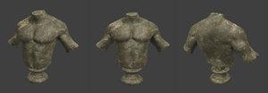 3D male bust damaged model