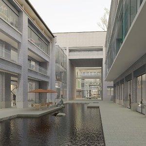 3D model exterior city block