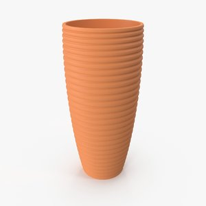 3D tall terra cotta pot