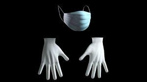 mask gloves 3D model