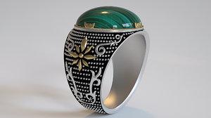 3D ring-green malachite
