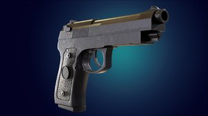 realistic beretta m9 pistol 3D model