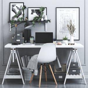 3D office chair lamp model