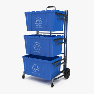 frontgate recycling cart bins 3D model