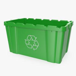 3D model green recycling bin