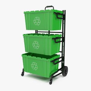 triple bin recycling cart 3D