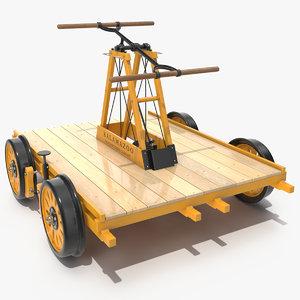 kalamazoo railway handcar rigged 3D model
