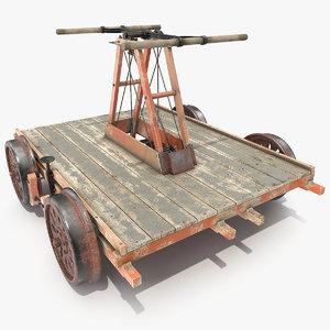 3D vintage railway handcar car