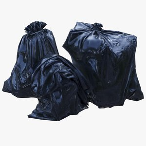 black plastic garbage bags 3D model
