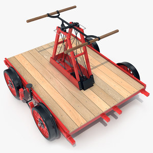 3D model railway handcar rail car vehicle