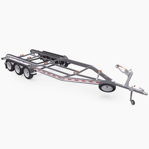car boat trailer triple 3D model