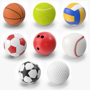 sport balls soccer tennis 3D
