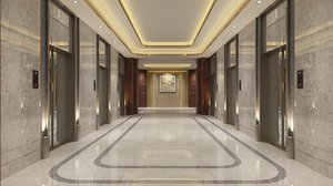 3D elevator lobby interior 2